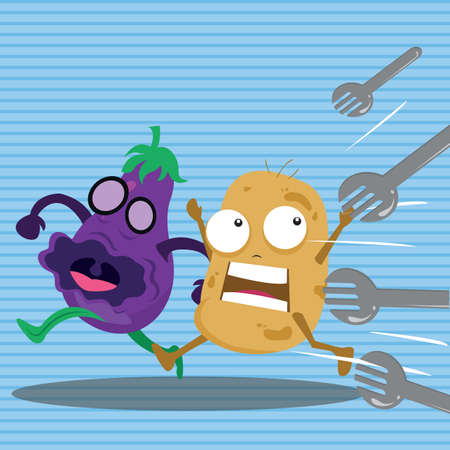 attacking: forks attacking brinjal and potato Stock Photo