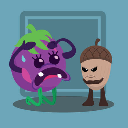 angry vegetable: brinjal angry on acorn
