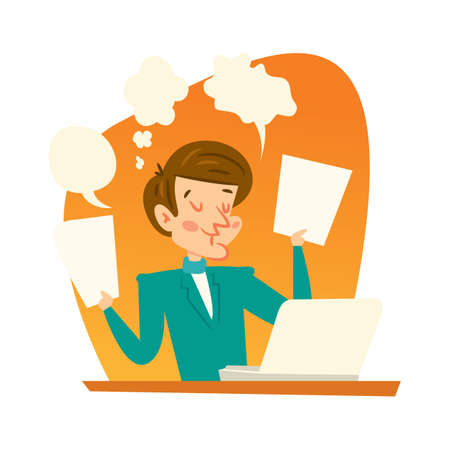 lap top: thoughts of a man Illustration