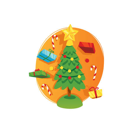 christmas gifts: christmas tree and gifts Illustration