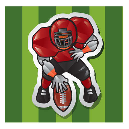 touchdown: american football player with ball on field Illustration