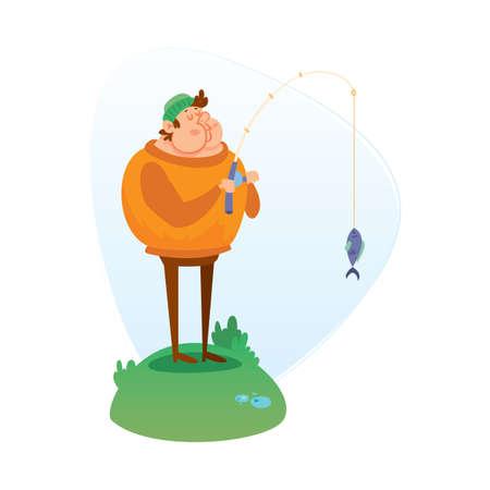 guy standing: man fishing Illustration