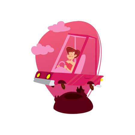 woman driving: woman driving cart Illustration
