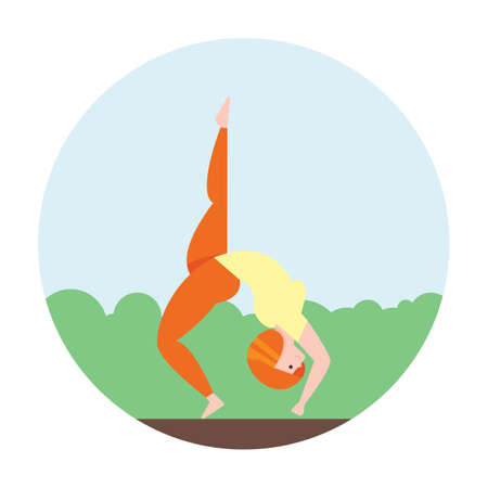 pada: eka pada chakrasana Illustration
