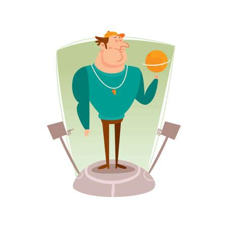 basket ball: basket ball coach rotating ball Illustration