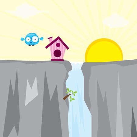 cliff: birdhouse on cliff
