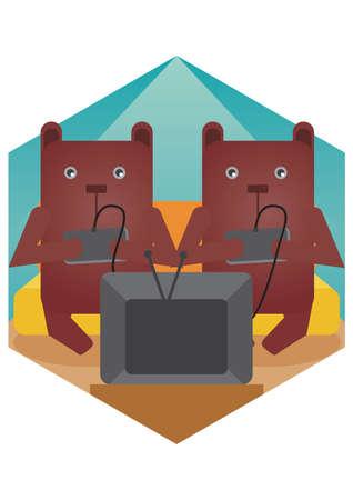 playing video games: bear cartoons playing video games