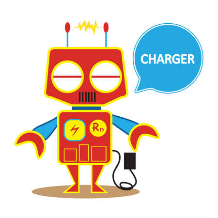 charged: robot getting charged Illustration