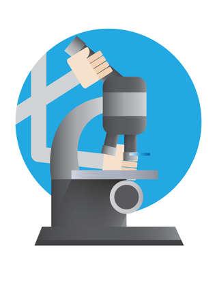 lense: hand placing microscope slide under the lense