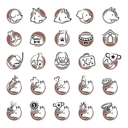 medical headwear: set of dog icons Illustration