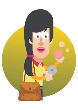 applying: woman applying compact powder Illustration