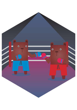 boxing match: bear cartoons in a boxing match Illustration