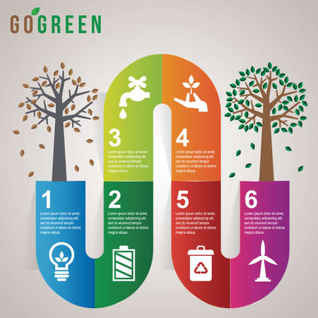 shedding: go green infographic Illustration