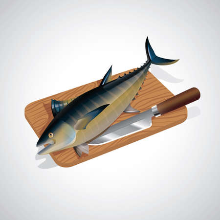 chopping: fish on chopping board with knife Illustration