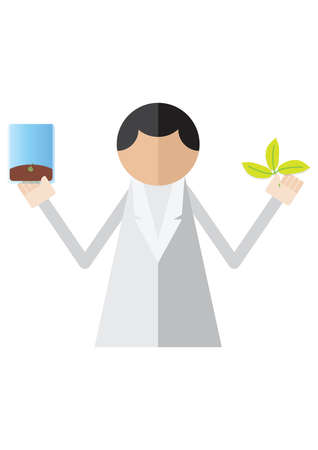 plant seed: scientist holding plant and seed sample