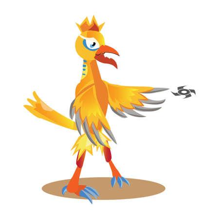 shuriken: rooster throwing shuriken Illustration