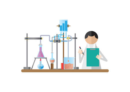bunsen burner: scientist holding clipboard and pencil in the laboratory