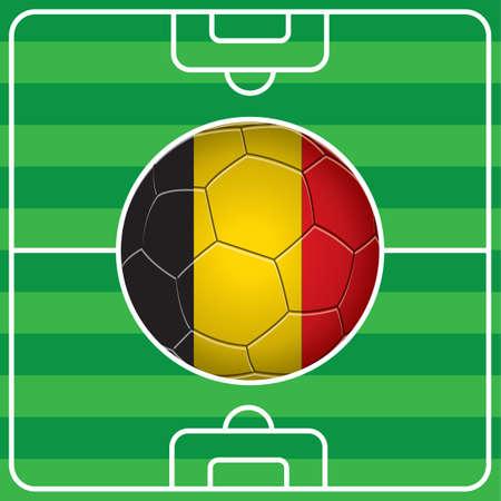 belgium flag: soccer ball with belgium flag on field Illustration
