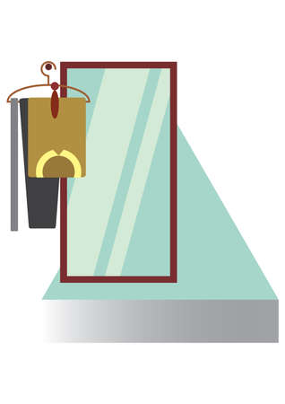 wall mirror: wall mirror with clothes on the hanger Illustration