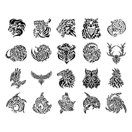 whales: tattoo icon set