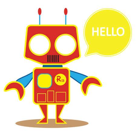 saying: robot saying hello