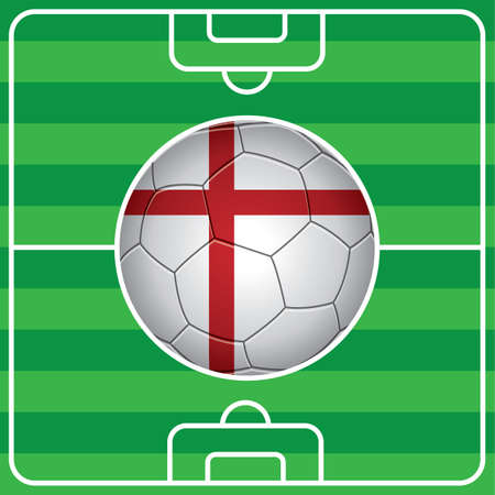 soccer field: soccer ball with england flag on field Illustration