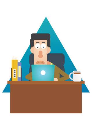 man with laptop: man working on his laptop Illustration