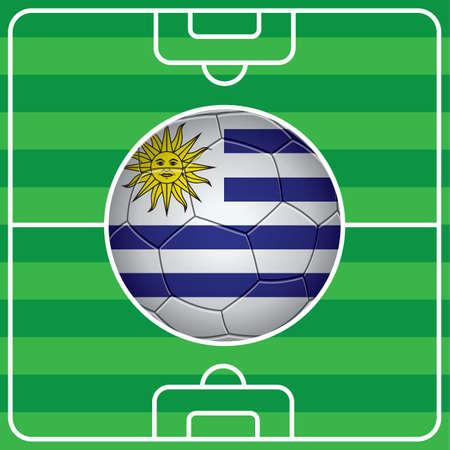 bandera uruguay: balón de fútbol con la bandera de Uruguay en el campo