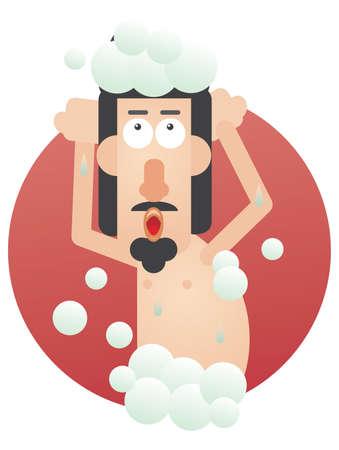 bathe: man taking a shower