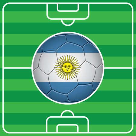 bandera argentina: bal�n de f�tbol con la bandera Argentina en el campo