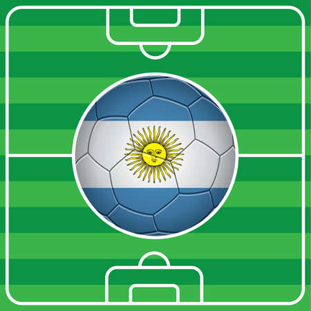 argentina flag: soccer ball with argentina flag on field