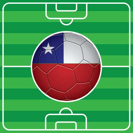 flag of chile: bal�n de f�tbol con la bandera de Chile en el campo Vectores