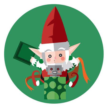 packing: elf packing christmas gift Illustration