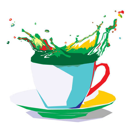 splashing: colors splashing out of coffee cup