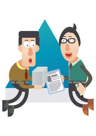 exchanging: men exchanging documents at work