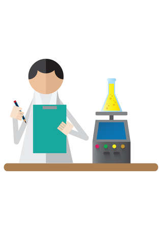 researcher: scientist taking notes while weighing chemistry beaker