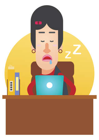 drool: woman dozed off at work Illustration