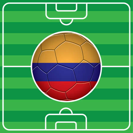 soccer field: soccer ball with columbia flag on field