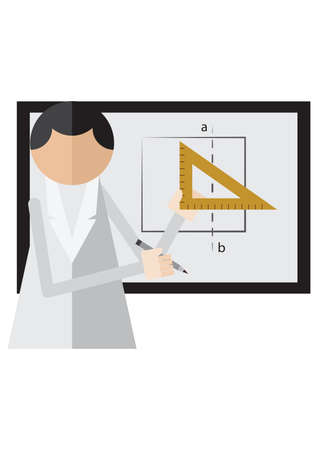 drawing board: scientist using drafting ruler on drawing board Illustration
