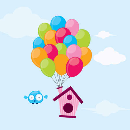 tied: Ballons Vogelhaus gebunden Illustration