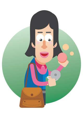 compact: woman applying compact powder Illustration