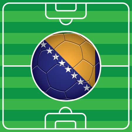 bosnia and herzegovina flag: soccer ball with bosnia herzegovina flag on field