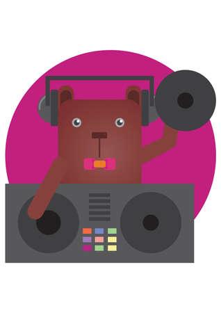 deejay: bear cartoon deejay Illustration