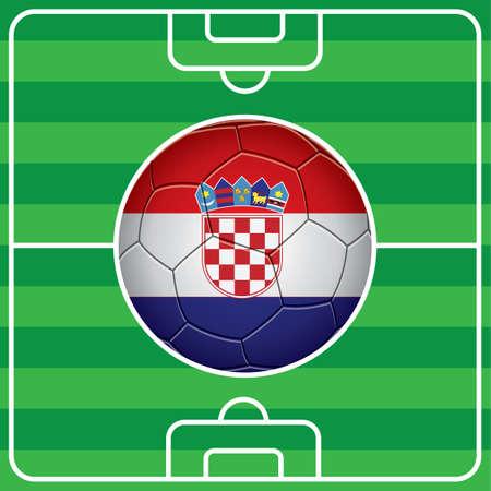 bandera de croacia: balón de fútbol con la bandera de Croacia en el campo Vectores