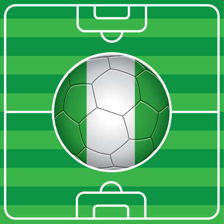 soccer field: soccer ball with nigeria flag on field