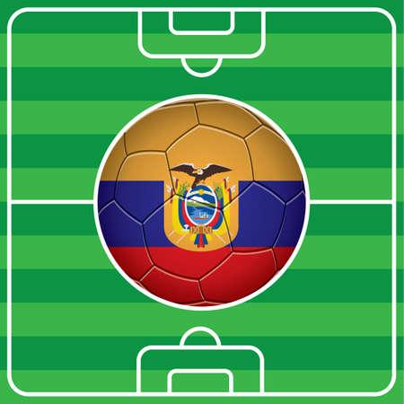 soccer field: soccer ball with ecuador flag on field