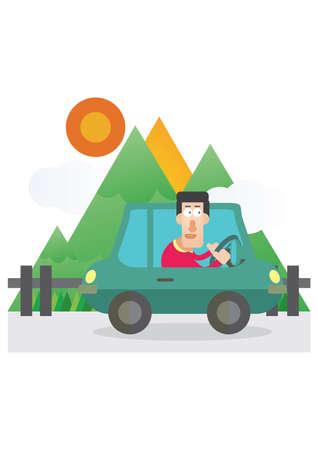 Mann fahren in der Nähe der Berge Standard-Bild - 53193810