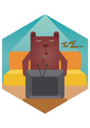 drool: bear cartoon fallen asleep Illustration
