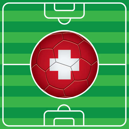 switzerland: soccer ball with switzerland flag on field Illustration