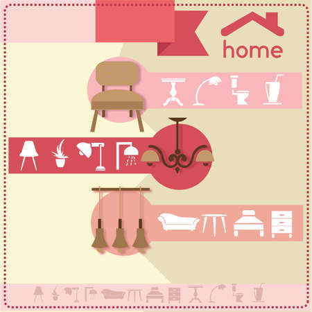 pendant lamp: home furniture and accessories design template Illustration